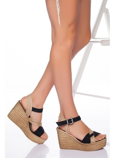 Derithy Derithy-Dolgu Topuklu Ayakkabı-Şeffaf Siyah
